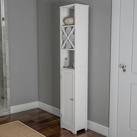 """3 Tier White Linen Tower by Lavish Home - 67"""" Tall"""