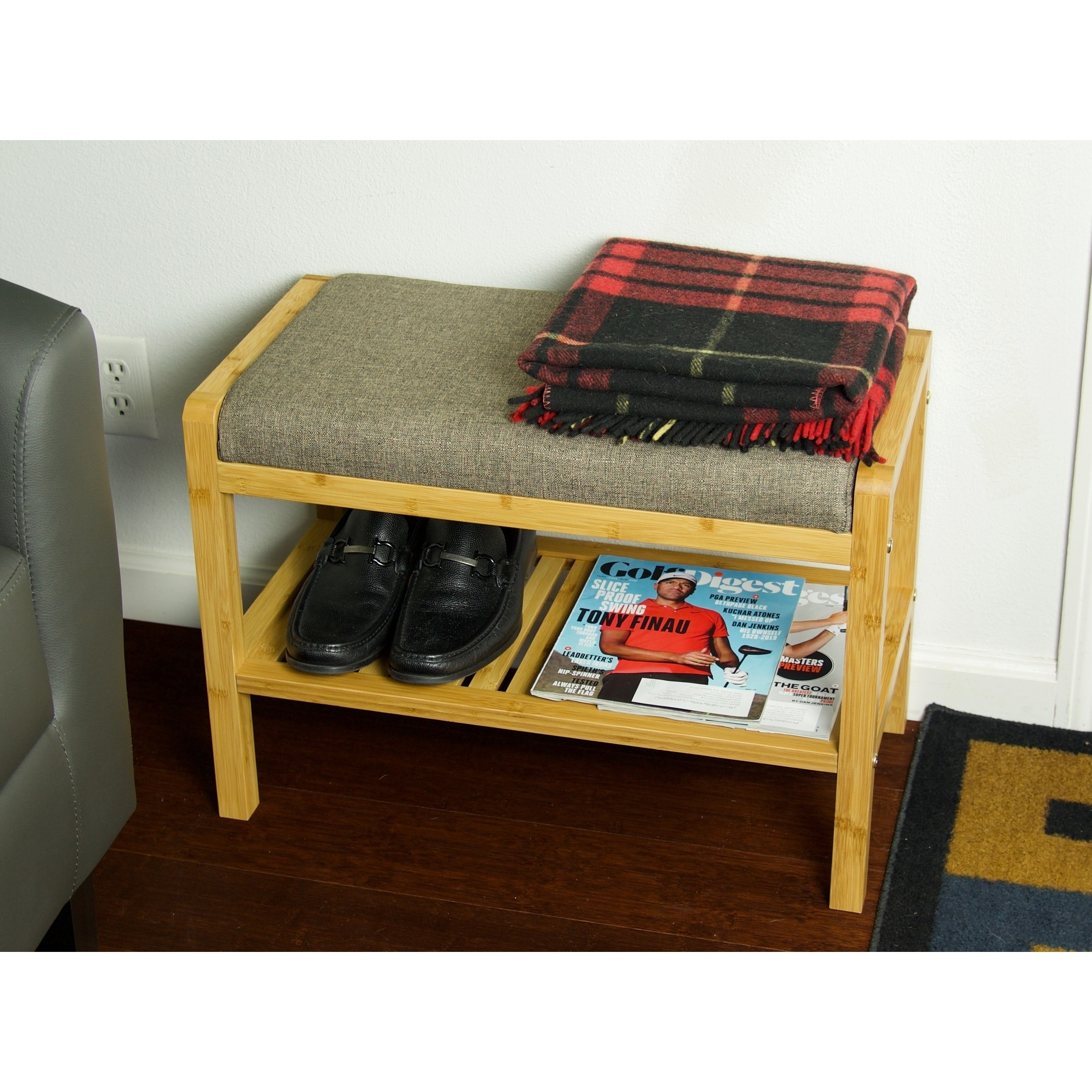 Wooden Upholstered Hallway//Dining Table Bench Upholstered in Tartan Fabric