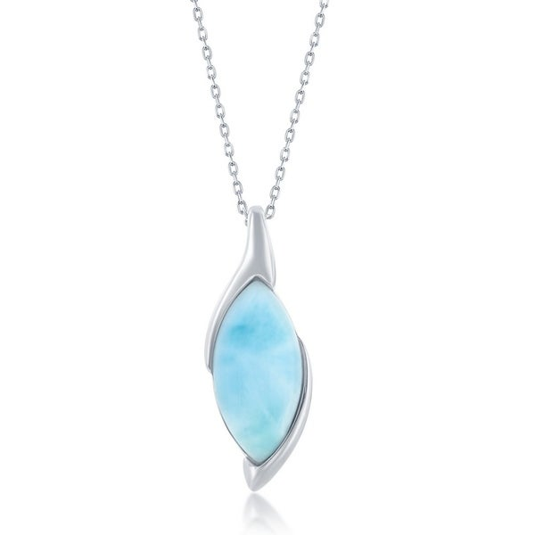 925 Sterling Silver Rhodium-Plated Larimar With Palm Tree Pendant