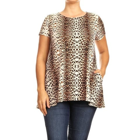 Women's Pattern Print Basic Casual Plus Size Tunic Top