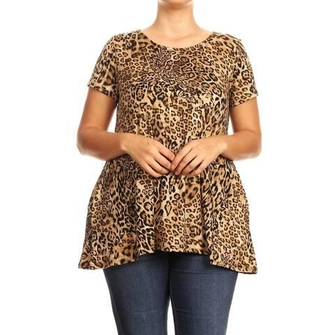 Women's Pattern Print Basic Casual Plus Size Tunic Top