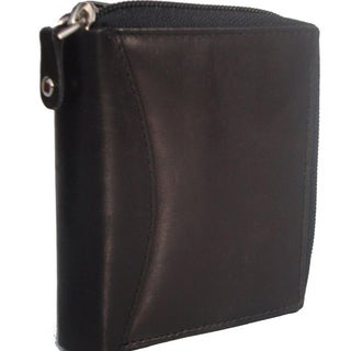 Accordion Black Leather Wallet