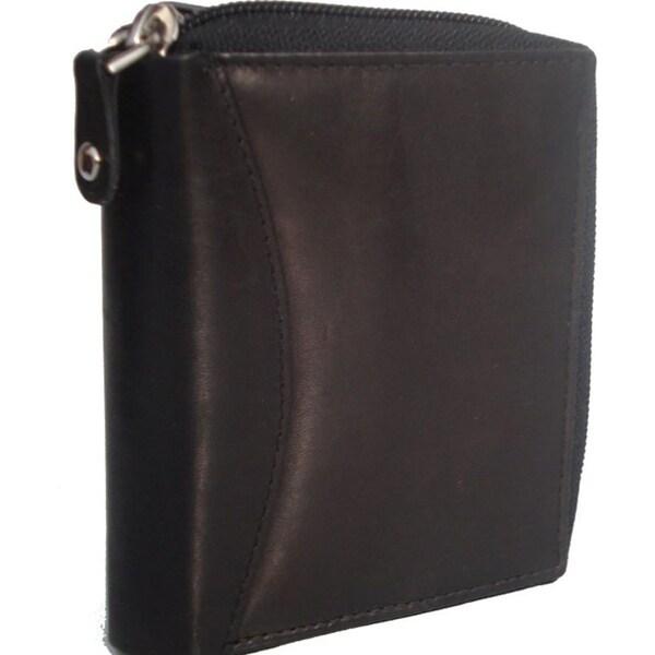 Accordion Black Leather Wallet