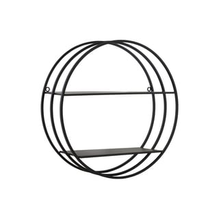 Round Metal Wall Shelf with Double Tiers, Coated Black Finish - N/A