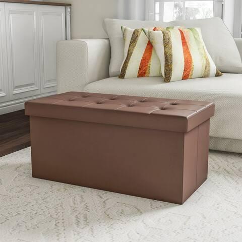 Faux Brown Leather Folding Storage Bench Ottoman by Lavish Home