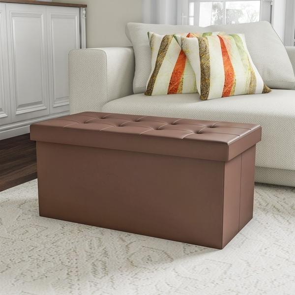 Shop Faux Brown Leather Folding Storage Bench Ottoman By