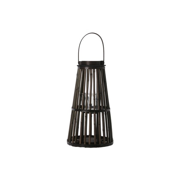 Bamboo Round Lantern with Flared Bottom LG Varnish Finish Dark Elm