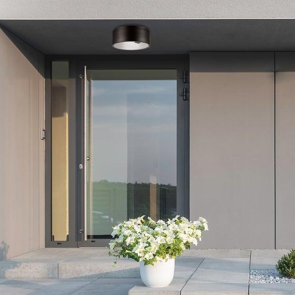 Porch & Den Escobar Dark Bronze 1-light Indoor/Outdoor Flush Mount Light. Opens flyout.
