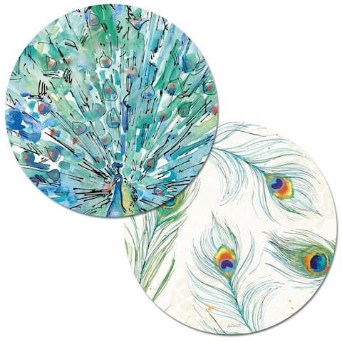 Round Reversible Wipe-clean Placemats Set of 4 - Peacock Garden