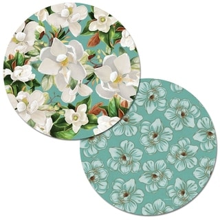 Round Reversible Wipe-clean Placemats Set of 4 - Sweet Magnolia