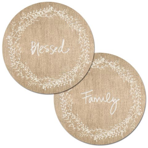 Round Reversible Wipe-clean Placemats Set of 4 - Family Blessed