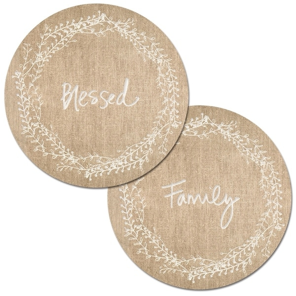 Round Reversible Wipe-clean Placemats Set of 4 - Family Blessed. Opens flyout.