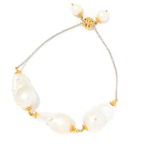 Gems en Vogue Palladium Silver Baroque & Round Cultured Pearl Adjustable Slide Bracelet