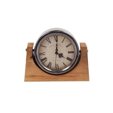 DesignStyles Wood Vintage Desk Clock