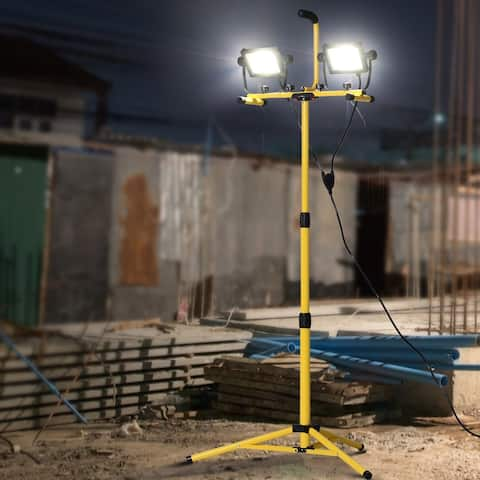 HOMCOM 8,000 Lumen LED Work Lights Dual Head Weather Resistant with Tripod Stand