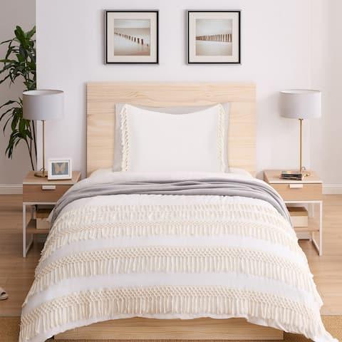 Sweet Jojo Designs Ivory Boho Macrame Fringe 2pc Twin-size Duvet Comforter Cover Bedding Set - Minimalist Chic Knotted Tassel