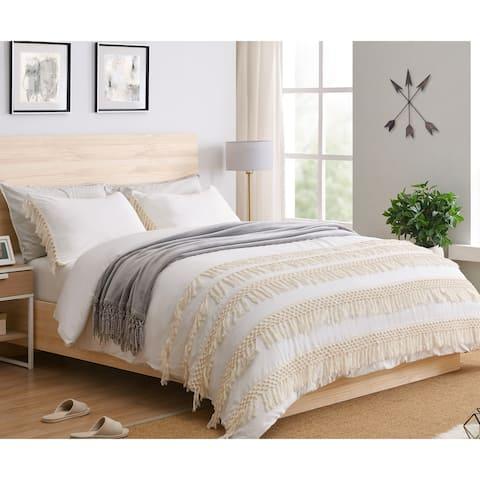 Sweet Jojo Designs Ivory Boho Macrame Fringe 3pc Queen-size Duvet Comforter Cover Bedding Set - Minimalist Chic Knotted Tassel