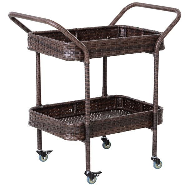 Outsunny Rattan Food And Serving Cart