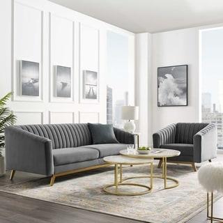 Valiant Vertical Channel Tufted Performance Velvet Sofa & Armchair Set