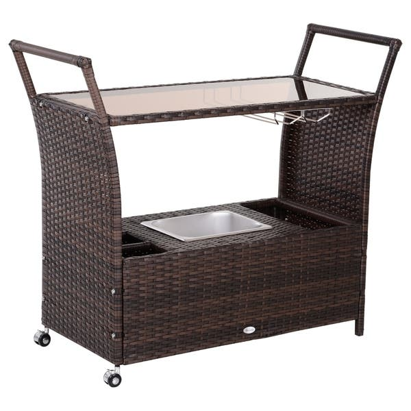 Outsunny Patio Wicker Serving Bar Cart