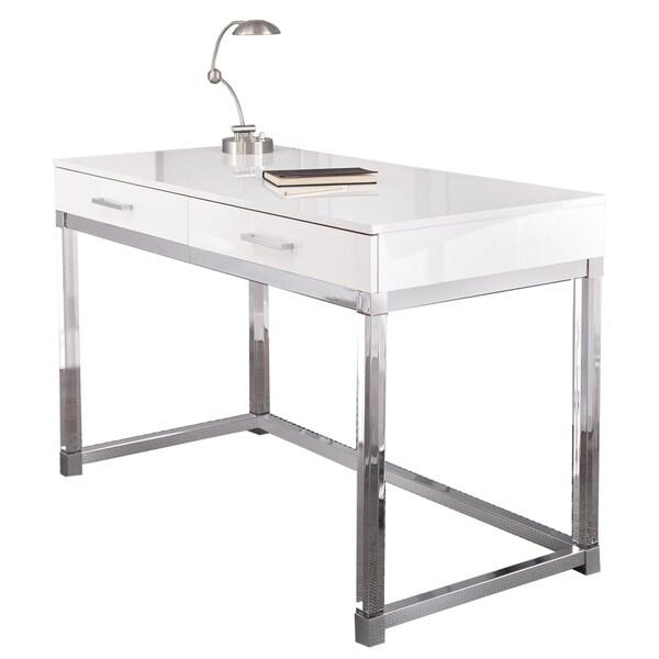 Arlo Modern Chrome and White Laminate Desk by Greyson Living