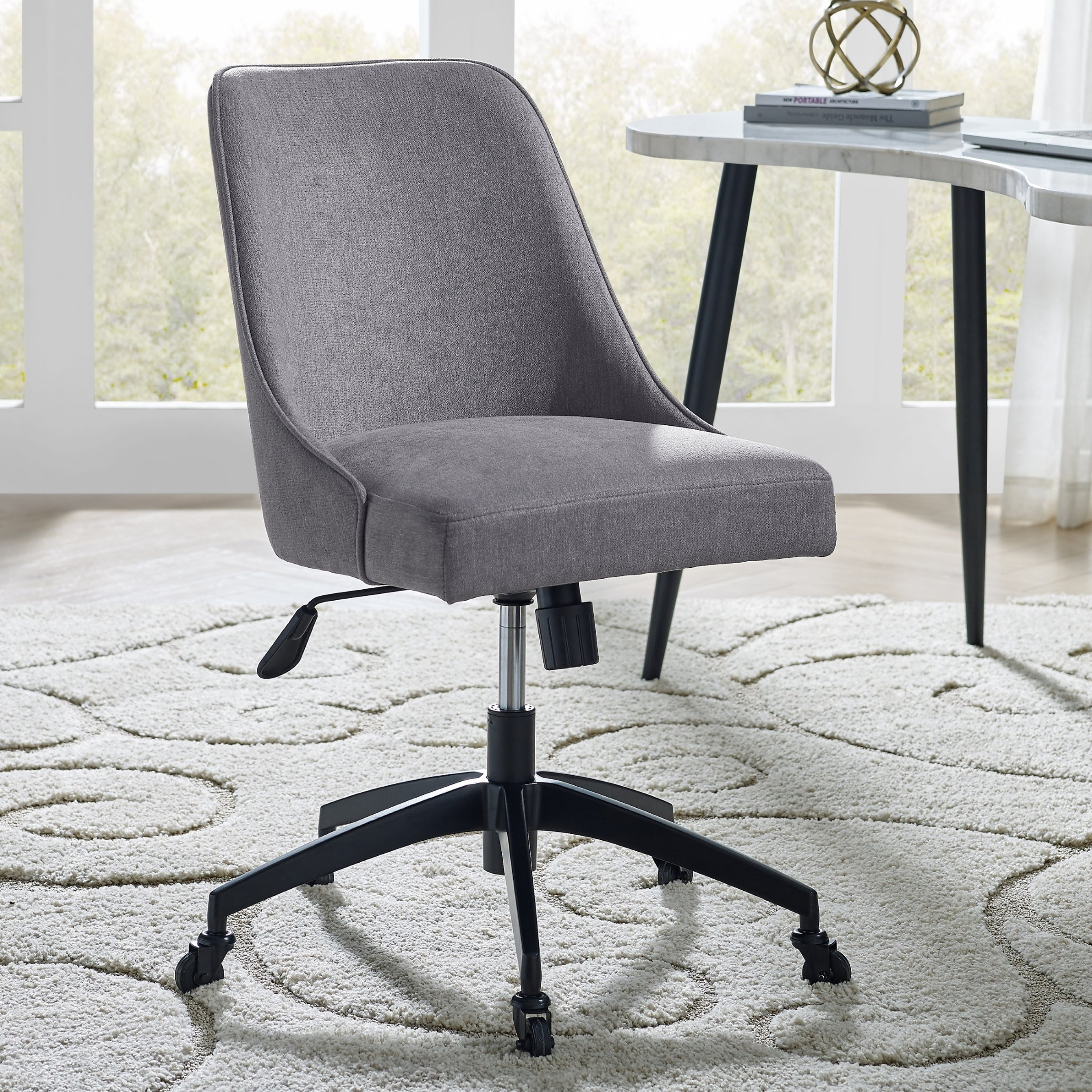 Shop Black Friday Deals On Knox Grey Upholstered Swivel Desk Chair By Greyson Living Overstock 30534285