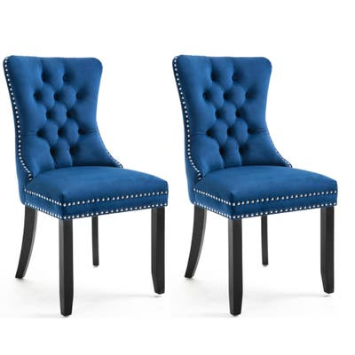 High Back Velvet Navy Upholstered wood Dining Chairs Tufted Nail Ring