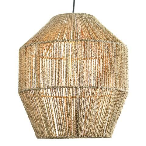 "Hemp Rope Hanging Pendant Lamp (13.5"" x 12"")"