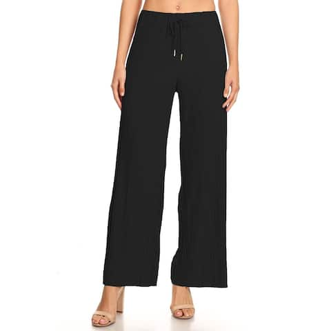 Women's Solid Casual Pleated Relaxed Pants