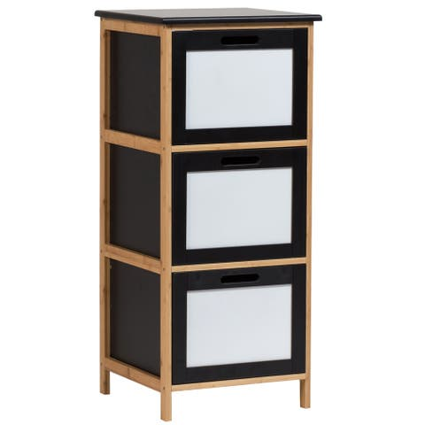 Solid Bamboo Frame 3 Drawer Storage Cabinet with Dry Erase