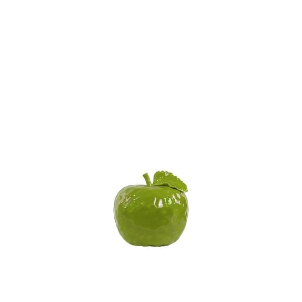 UTC50995: Ceramic Apple Figurine with Stem and Leaf SM Dimpled Gloss Finish Green