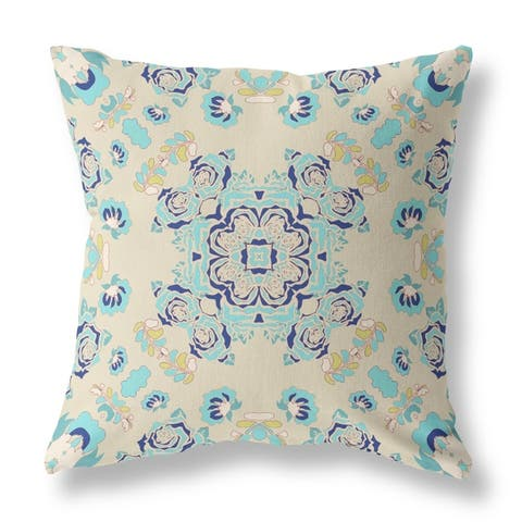 Wreath Roses and Squares Broadcloth Pillow by Amrita Sen