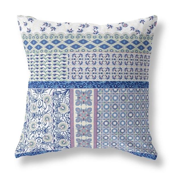 Patchwork Floral Castlemania Broadcloth Pillow by Amrita Sen