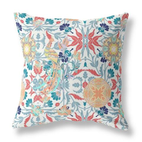 Everest Peacock with Floral Broadcloth Pillow by Amrita Sen