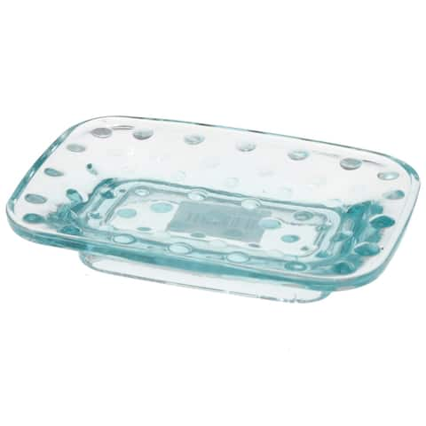 Creative Home Embossed Dot light blue Glass Soap Dish