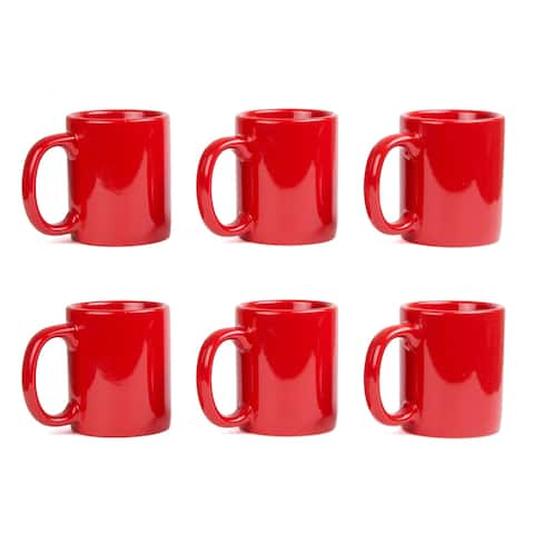Creative Home Red Ceramic Coffee Mug Set (Set of 6)