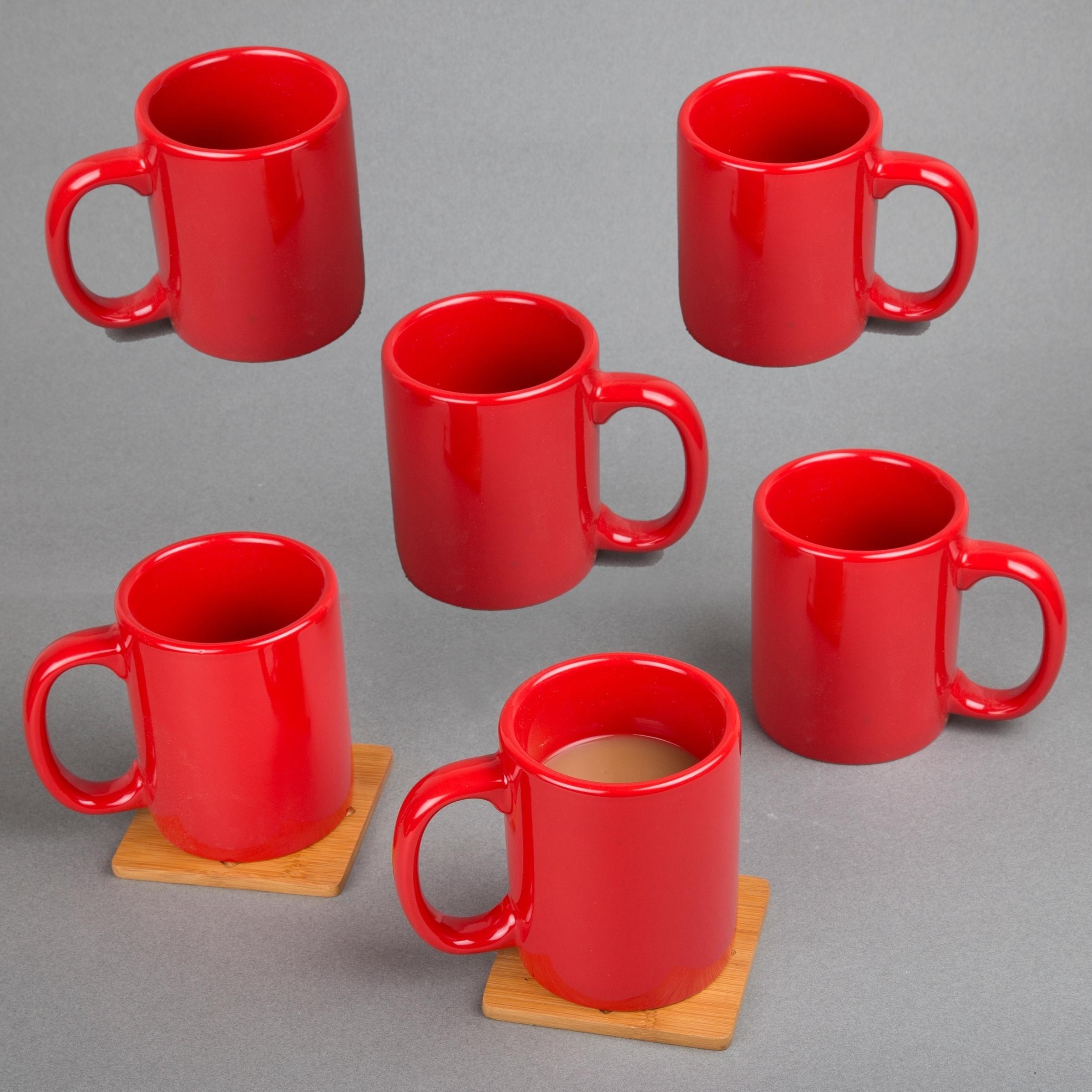 Cocoa Mug Tea Cup White /& Red Mugs Set of 6 Coffee Mug Set of 6 Mugs