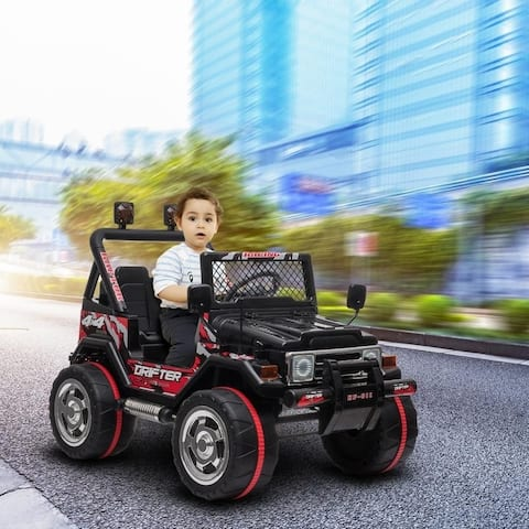 LEADZM Small Jeep Double Drive Electric Ride on Kids Car Truck With LED Light & Remote Control