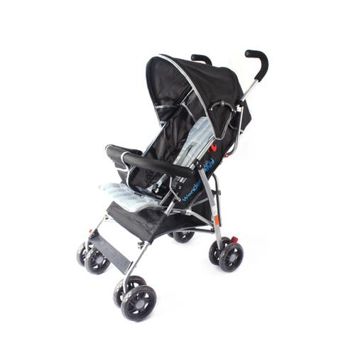 Wonder Buggy Dakota Baby Stroller with Bumper,Basket & Rounded Canopy - Solid Black