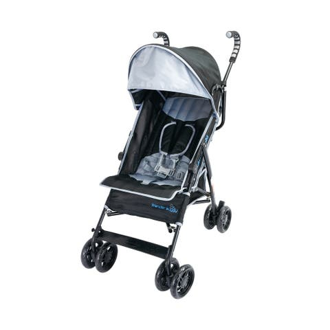 Wonder Buggy Cameron Multi Position Baby Stroller With Basket & Canopy With Sun Visor - Black