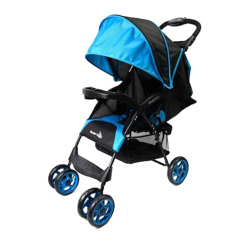Wonder Buggy Mimmo Deluxe Lightweight One-Hand Folding Multi-Position Compact Stroller - Teal Blue