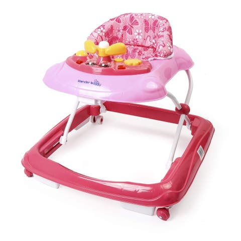 Wonder buggy Baby Walker, Foldable Activity Walkers Helper with Adjustable Height, Baby Activity Walker with Removable Toy Tray