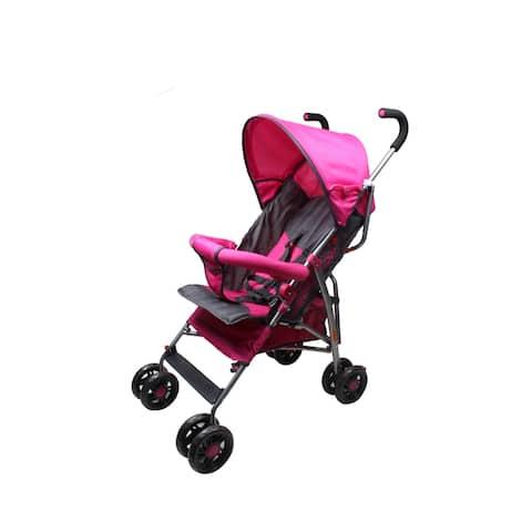 Wonder Buggy Dakota Baby Stroller with Bumper,Basket & Rounded Canopy - Solid Pink