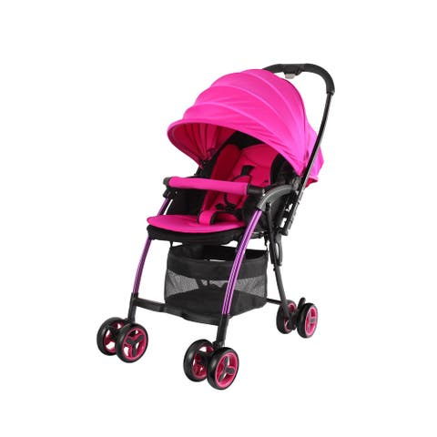 Wonderbuggy Nano Ultralight One Hand Fold Aluminum Compact Stroller with Reversible Handle - Pink