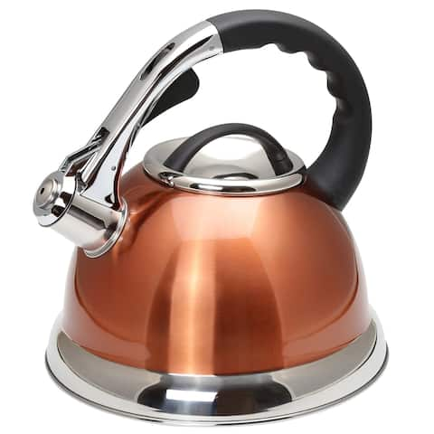 Creative Home Camille 3.0 Qt Stainless Steel Whistling Tea Kettle, Metallic Copper Finish