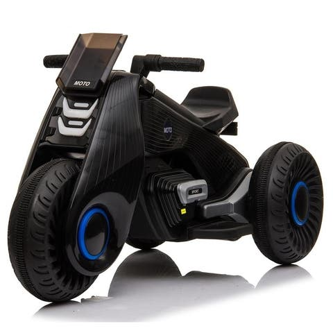 Electric Ride on Motorcycle 3 Wheels Double Drive Kids Play Car 6V 4.5Ah Battery
