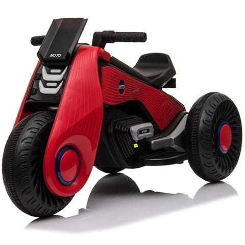 LEADZM Electric Ride on Motorcycle 3 Wheels Double Drive Kids Play Car 6V 4.5Ah Battery