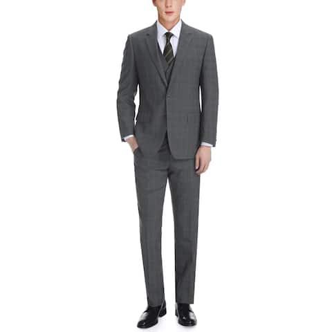 Men's Classic Fit Notch Lapel Windowpane Three Piece Suit