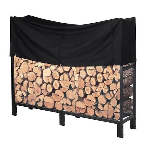 5 Feet Heavy Duty Outdoor Firewood Log Rack with Cover Fireplace Wood Holder