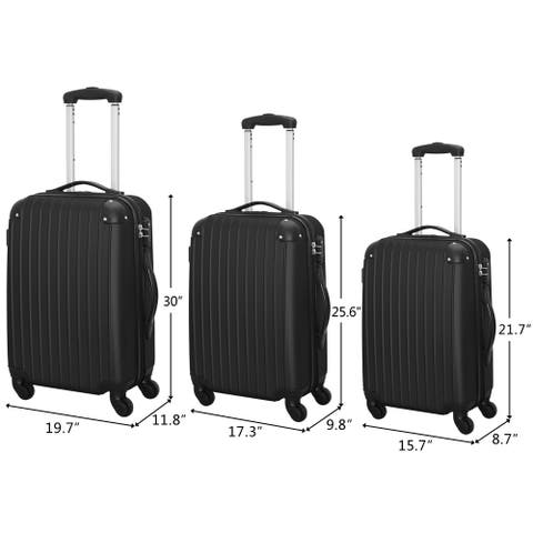 Set of 3 ABS Trolley Spinner Suitcase with TSA Lock Silver Gray